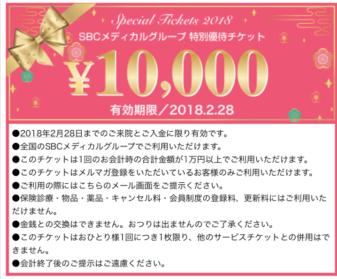 湘南美容外科のメルマガで配信される10000円チケット