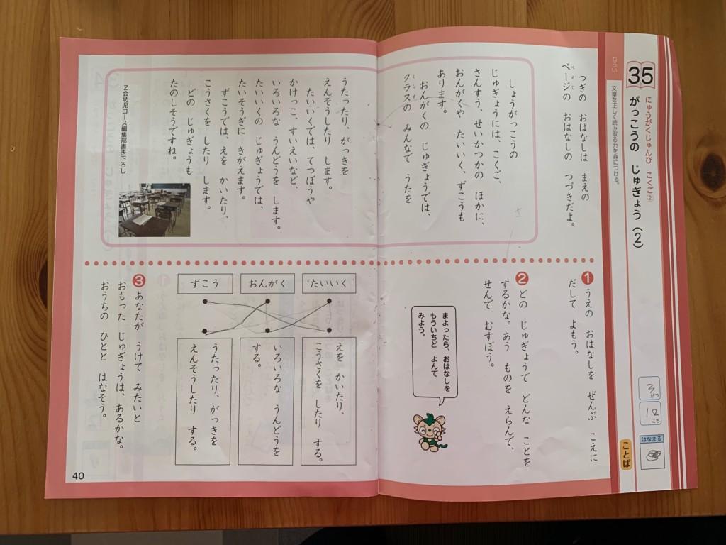 Z会年長3月号の国語
